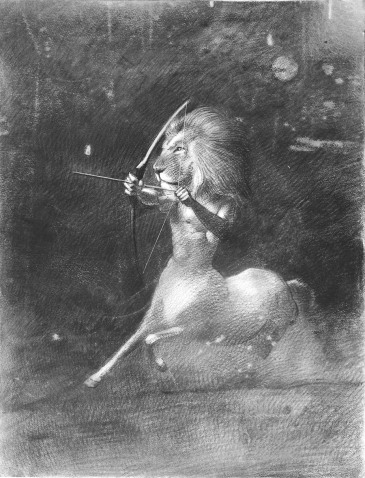 Leo Lion holding a bow and arrow