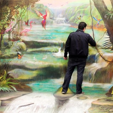 Man standing in a river. Birds, butterflies